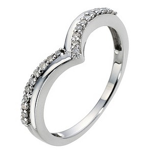 9ct White Gold Wishbone Diamond Ring