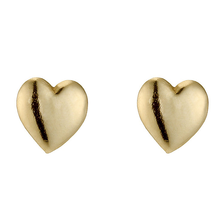 9ct Yellow Gold Small Heart Stud Earrings - Product number 8959218