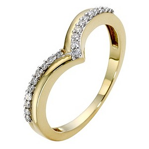 9ct Yellow Gold Diamond V Shaped Eternity Ring