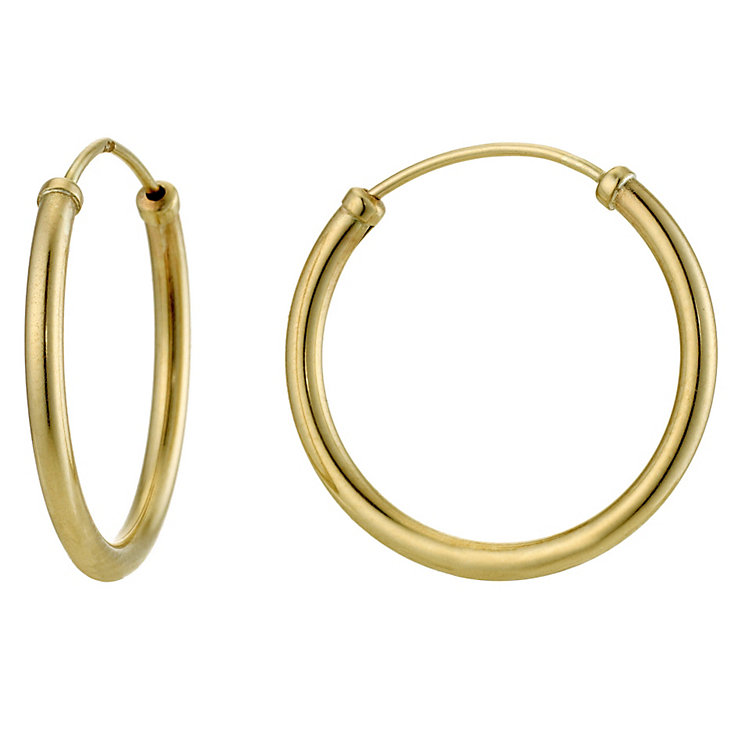 9ct Yellow Gold 18mm Capped Hoops - Product number 8959749
