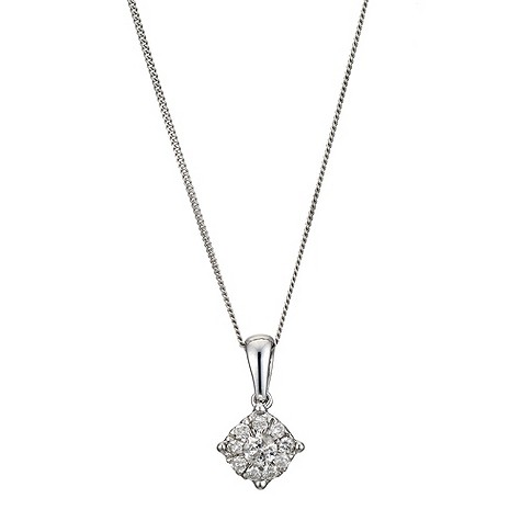 9ct white gold 1/4 carat cluster pendant necklace