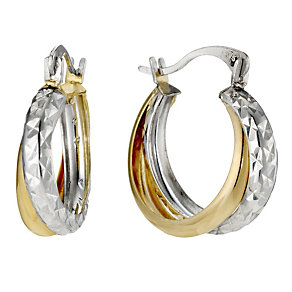 9ct Yellow Gold & Silver Creole Earrings - Product number 8960453