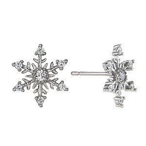 9ct White Gold Snowflake Cubic Zirconia Stud Earrings - Product number 8960771