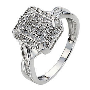 9ct White Gold 1/2 Carat Diamond Cluster Ring - Product number 8961433