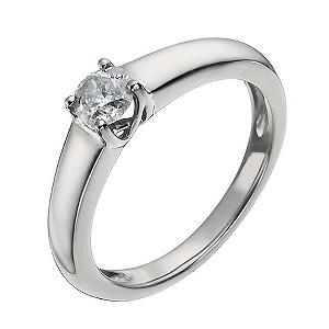 Palladium 1/3 Carat Diamond Solitaire Ring