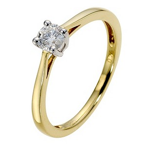 14ct Gold 1/4 Carat Diamond Solitaire Ring