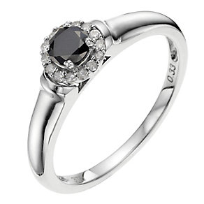 Noir Argentium Silver 1/3 Carat Treated Black Diamond Ring - Product number 8964076