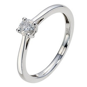 14ct White Gold 1/4 Carat Diamond Solitaire Ring