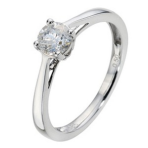 14ct White Gold 1/2 Carat Diamond Solitaire Ring - Product number 8965390