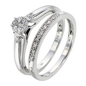 9ct White Gold 1/5 Carat Diamond Cluster Bridal Ring Set