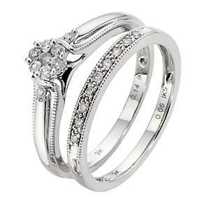 9ct White Gold 1/5 Carat Diamond Cluster Bridal Ring Set - Product number 8966850