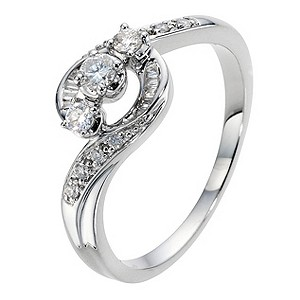 9ct White Gold 1/4 Carat Diamond Trilogy Ring