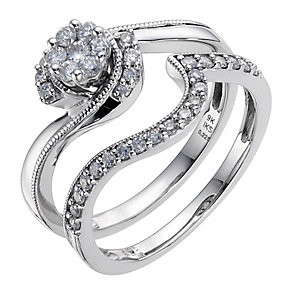 Perfect Fit 9ct White Gold 0.40 Carat Diamond Bridal Set - Product number 8967644