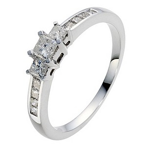9ct White Gold Half Carat Diamond Trilogy Ring