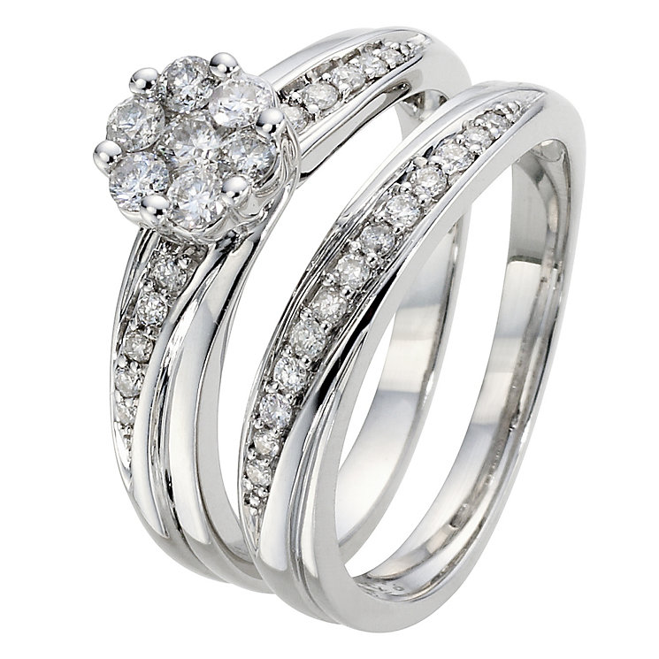 9ct White Gold 1/2 Carat Diamond Cluster Bridal Ring Set - Product number 8968446