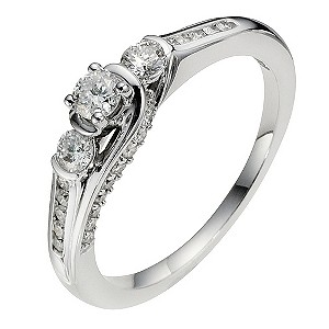 18ct White Gold Half Carat Diamond Trilogy Ring