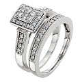 18ct White Gold 1/2 Carat Diamond Bridal Ring Set - Product number 8968977