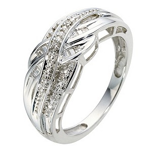 Silver Diamond Cross Over Eternity Ring - Product number 8969620