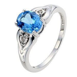 9ct White Gold Diamond & Blue Topaz Oval Ring - Product number 8969760