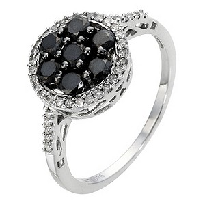 9ct White Gold 3/4 Carat Black and White Diamond