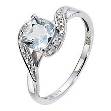 9ct White Gold Diamond & Aquamarine Twist Ring - Product number 8970556