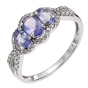 9ct White Gold Diamond & Tanzanite Ring - Product number 8971080