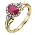 9ct Yellow Gold Diamond & Ruby Ring - Product number 8971358