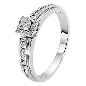 9ct White Gold 1/6 Carat Diamond Solitaire Ring - Product number 8971749