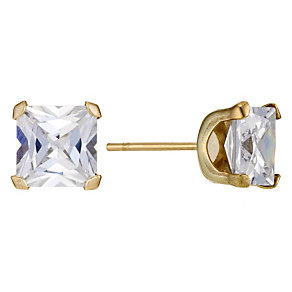 9ct Yellow Gold Cubic Zirconia 6mm Square Stud Earrings - Product number 8972575