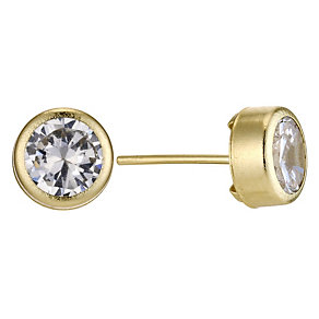 9ct Yellow Gold Cubic Zirconia 6mm Stud Earrings - Product number 8972605