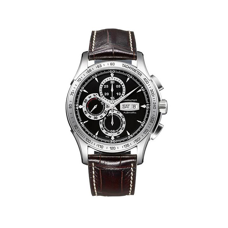Hamilton men's brown strap chronograph watch - Product number 8973385