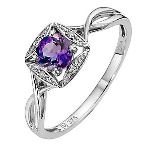 9ct White Gold Diamond & Amethyst Ring - Product number 8973873