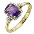 9ct Yellow Gold Diamond & Amethyst Rectangular Ring - Product number 8974012