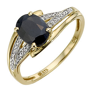 9ct Yellow Gold Diamond & Sapphire Oval Ring - Product number 8974152