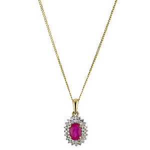 9ct Yellow Gold Diamond & Ruby Cluster Pendant - Product number 8974284