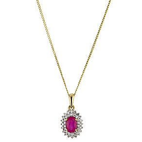 9ct Yellow Gold Diamond & Treated Ruby Cluster Pendant - Product number 8974284