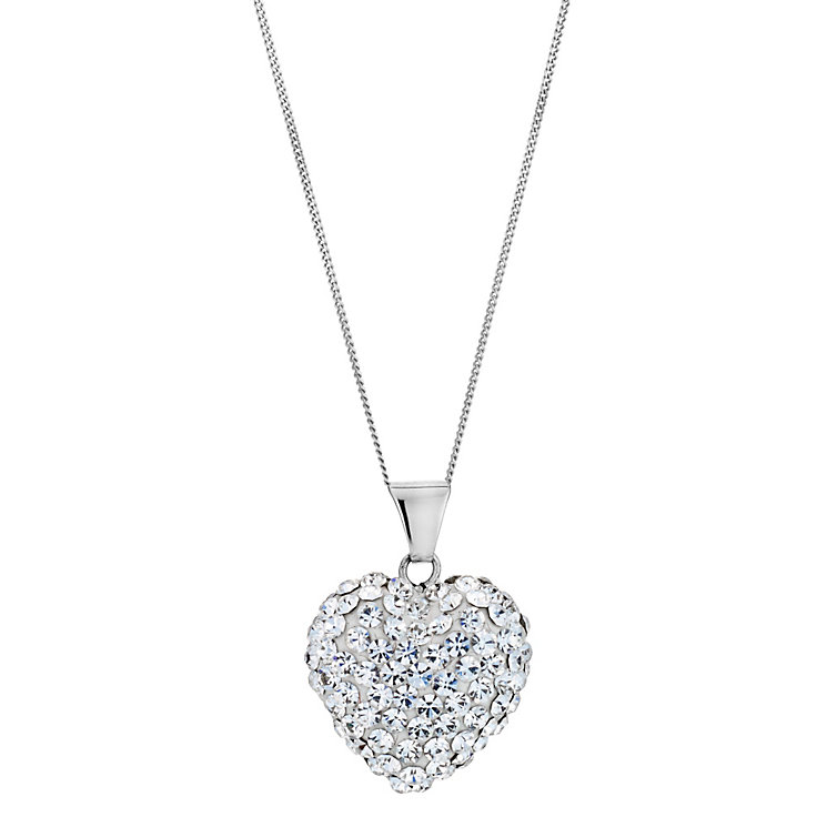 9ct White Gold Crystal Heart Pendant - Product number 8974454
