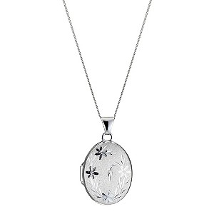 9ct White Gold Diamond Cut Oval Locket