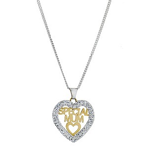 and 9ct Yellow Gold Mum Crystal Pendant