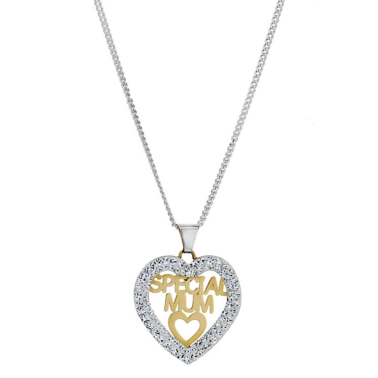 Silver & 9ct Yellow Gold Mum Crystal Pendant - Product number 8974659