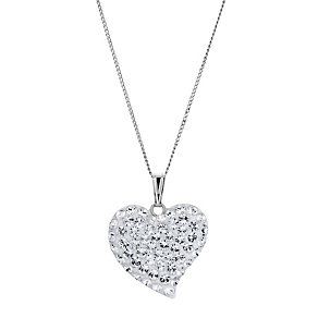 9ct White Gold Crystal Heart Pendant - Product number 8974705