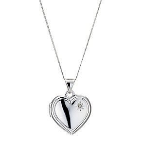 9ct White Gold Heart Locket - Product number 8974934
