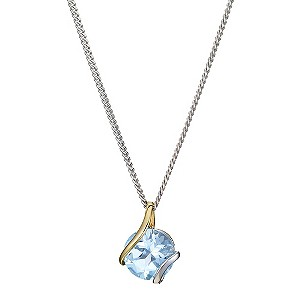 Silver & 9ct Yellow Gold Blue Topaz Wrap Pendant - Product number 8974985