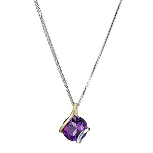Silver & 9ct Yellow Gold Amethyst Wrap Pendant - Product number 8974993