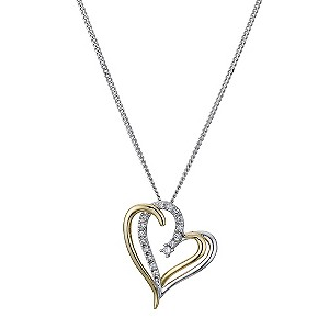 Silver & 9ct Yellow Gold Cubic Zirconia Double Heart Pendant - Product number 8975035
