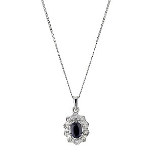 9ct White Gold Diamond & Sapphire Cluster Pendant Necklace - Product number 8975698