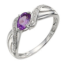9ct White Gold Diamond & Amethyst Twist Ring - Product number 8975728