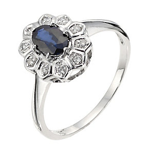 9ct White Gold, Diamond & Sapphire Cluster Ring - Product number 8975841