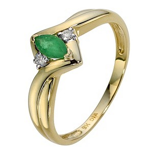 9ct Yellow Gold Diamond & Emerald Marquise Ring - Product number 8976112
