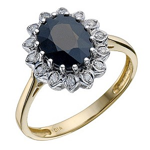 9ct Yellow Gold Sapphire & Diamond Sapphire Ring - Product number 8976511